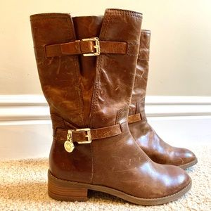 Michael Kors Brown Gold Leather Zip Boots